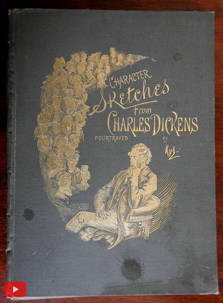 Famous Dickens Characters 24 color plates 1870 Kyd art illustrated book Tuck