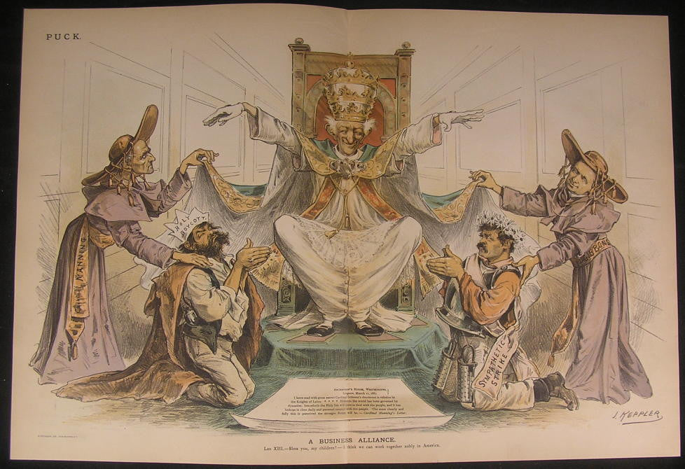 Boycott Strikers & Pope Business Alliance 1887 antique color lithograph print