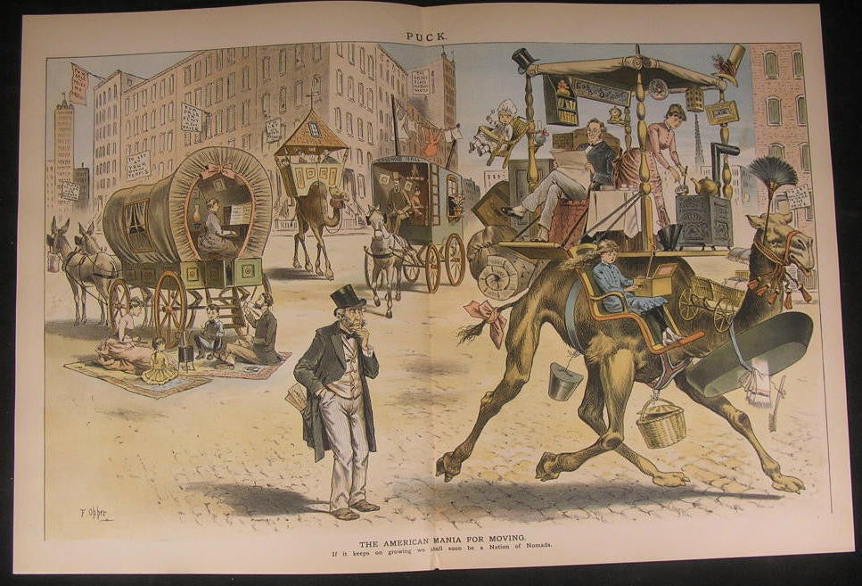American Moving Mania Nomadic Nation Camel 1887 antique color lithograph print