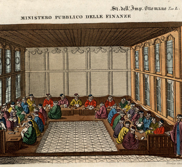 Ottoman Empire Ministry of Public Finance c.1820-50 beautiful color print