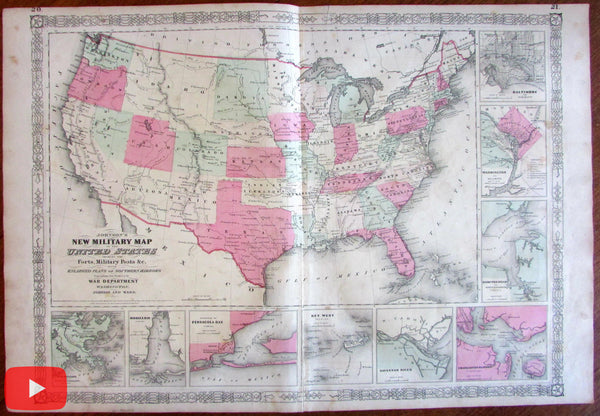 United State Military Map 1864 Johnson Civil War southern Harbor insets forts