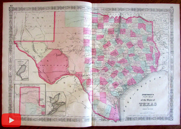 Texas 1864 Johnson & Ward scarce variant folio Civil War large map