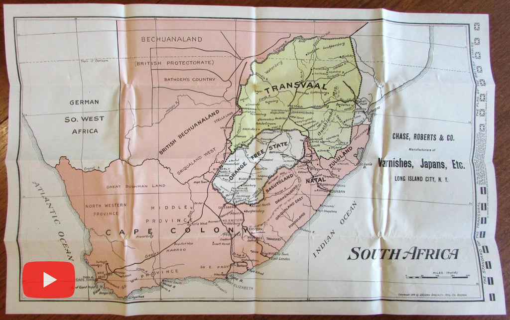 South Africa Military advertising map 1899 Transvaal Britain War Chase Roberts