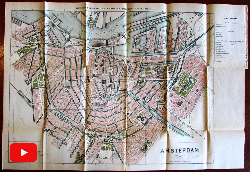 Amsterdam city plan 1907 large color lithographed Bradshaw detailed map