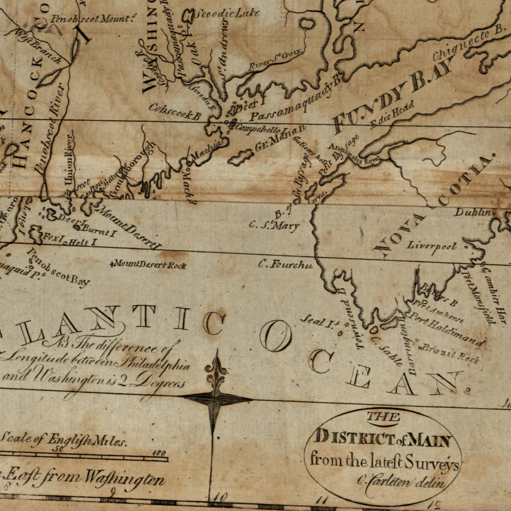 District of Maine FIRST U.S. STATE MAP 1793 Carleton scarce American-made map