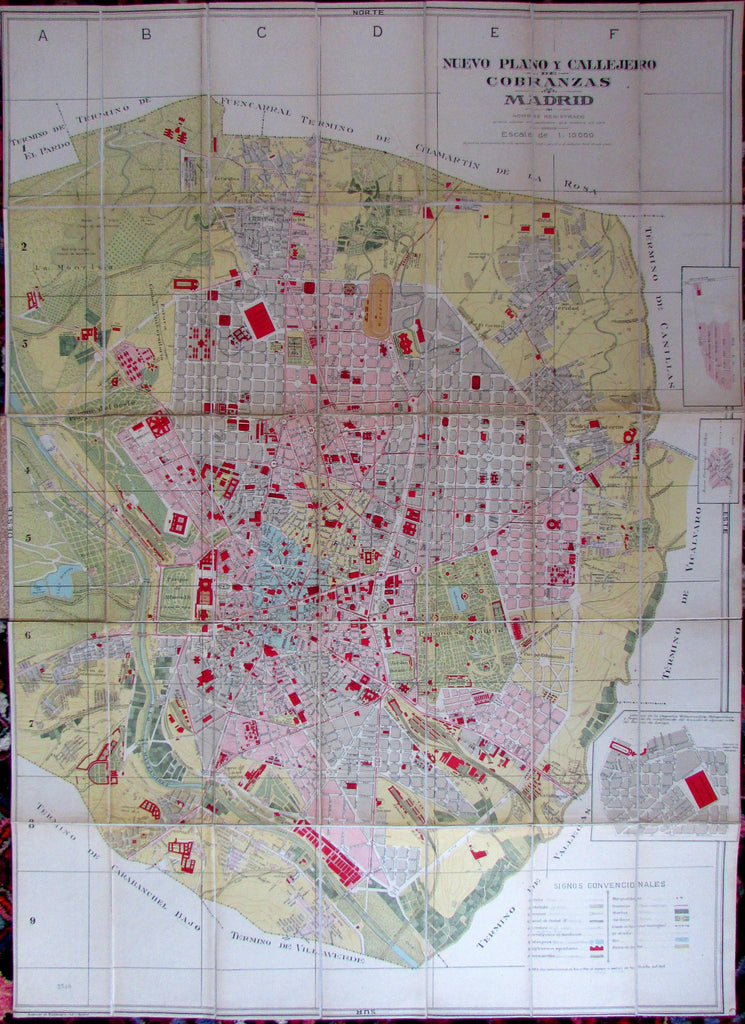 Madrid Spain c.1933 huge colorful urban city plan linen-backed map