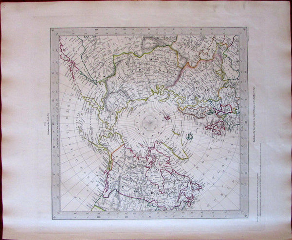 North Pole Canada Russian Alaska Europe Asia c.1840 SDUK detailed Walker map