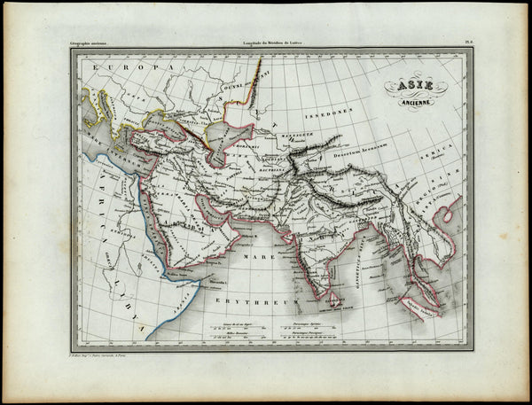 Ancient Asia Arabia India Southeast Asia Nile source c.1840 antique map Bellier
