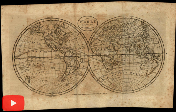 World double hemispheres map 1798 Rollinson American made Wheat & Brun #40