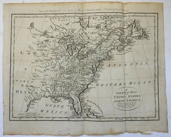 United States Early Republic Treaty of 1784 in title c. 1785 Bowen folio map