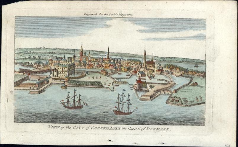 Copenhagen Denmark 1798 charming birds-eye view old rare printed