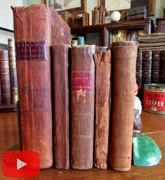 American Geography books 1793-1824 lot x 5 old books by Morse Dwight & Parrish