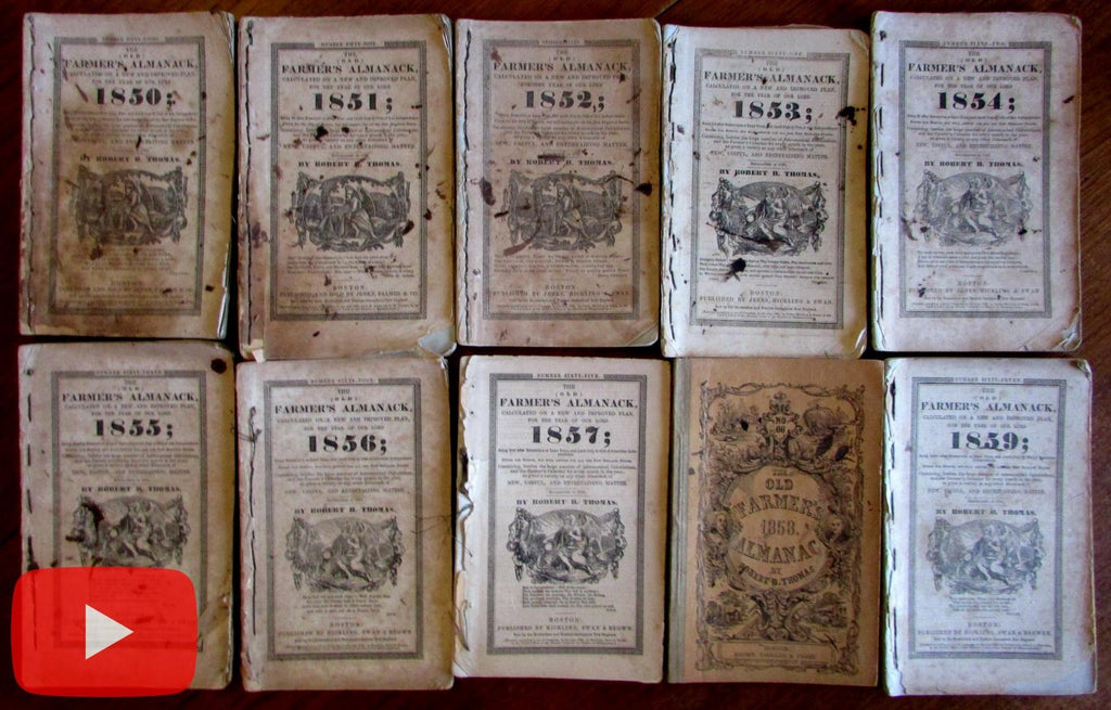 Farmer's Almanacs 1850-1859 lot x 10 early Exeter NH owner notes deaths