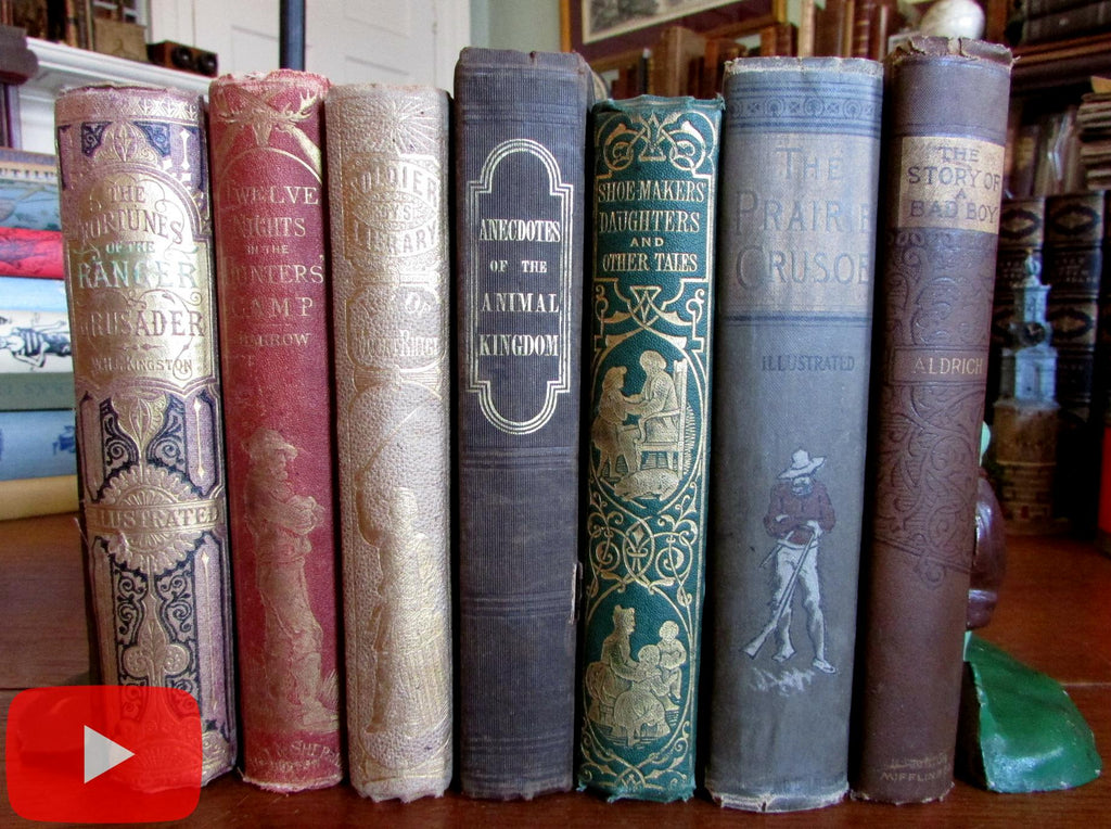 Children's books 19th century lot x 7 decorative bindings gilt pictorial nice