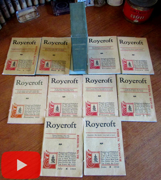 Elbert Hubbard Roycroft Magazine October 1921- July 1922 run 10 issues boxed
