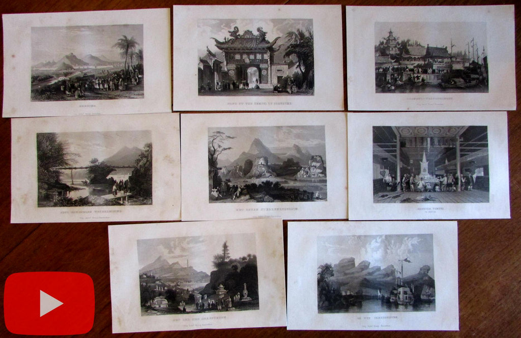 China Asia lot x 8 engraved prints 1861 fine views scenery Nanking people Shanghai