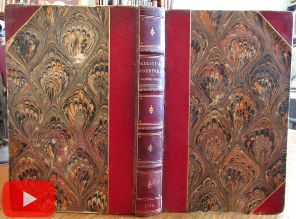 Marrying Religious wives & husbands only 1729 Defoe leather book 2nd edition