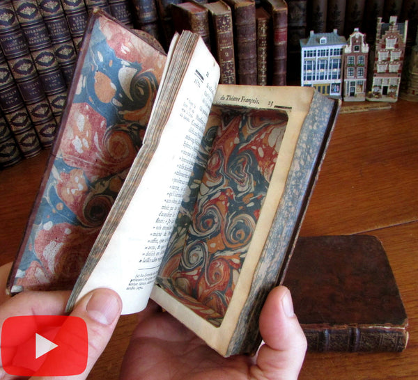 Rare Book Box mid-18th century secret compartment 2 rare leather books