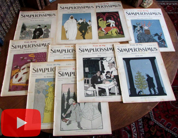 Poster Art Art Nouveau 1908-9 Simplicissimus lot x10 Germany graphics Jugendstil