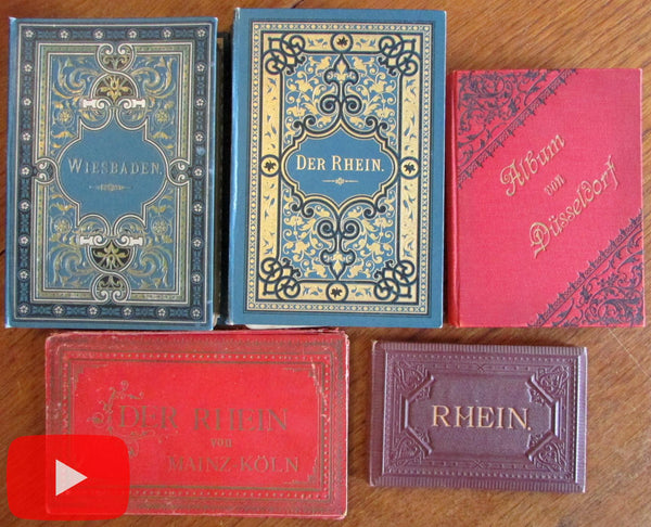 Germany Rhine 1890's Tourist x 5 view books w/ real photos & lithos 75+ views