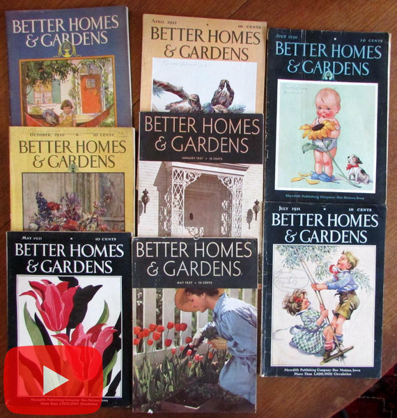 Better Homes & Gardens 1928-1937 Lot x 8 magazines many color ads fun!