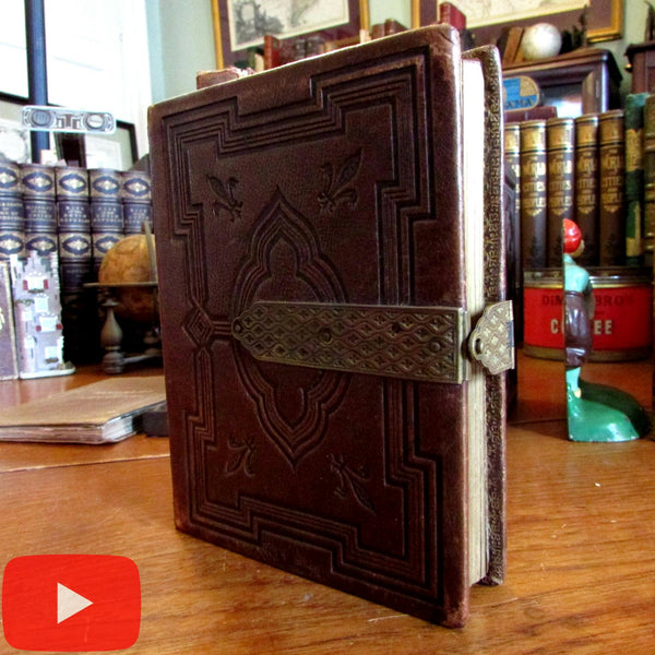 Leather photograph album brass clasp c.1860-80 lovely decorative blank book