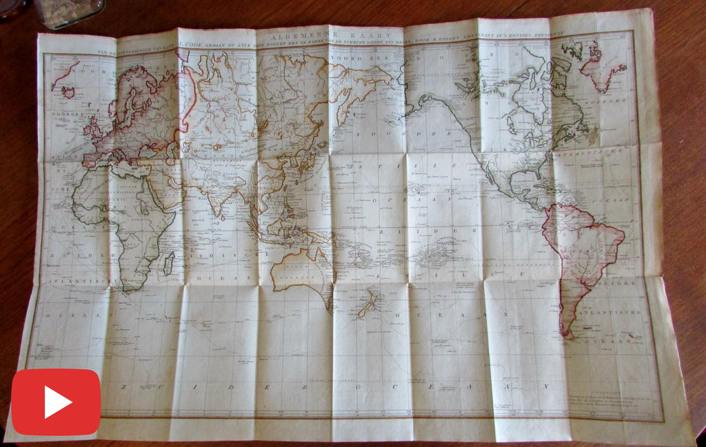 Captain Cook World Exploration map 1801 rare Dutch Australia Tasmania joined