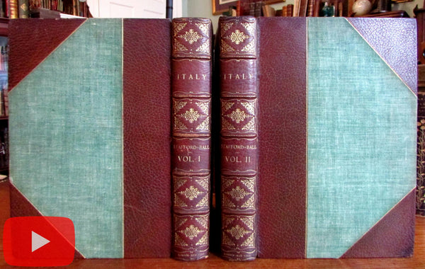Italy 1860 Stafford Tallis 70 engraved views splendid leather book 2 vol set