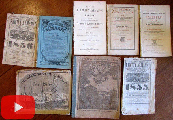 Almanac lot x 8 woodcuts American Eagle Great Western steam ship Whig CA