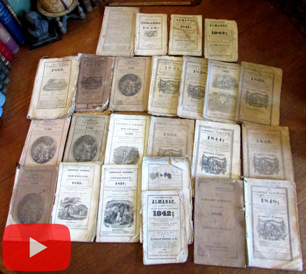 Farmer's New England Almanacs 1829-48 Lot x 24 assorted w/ woodcuts