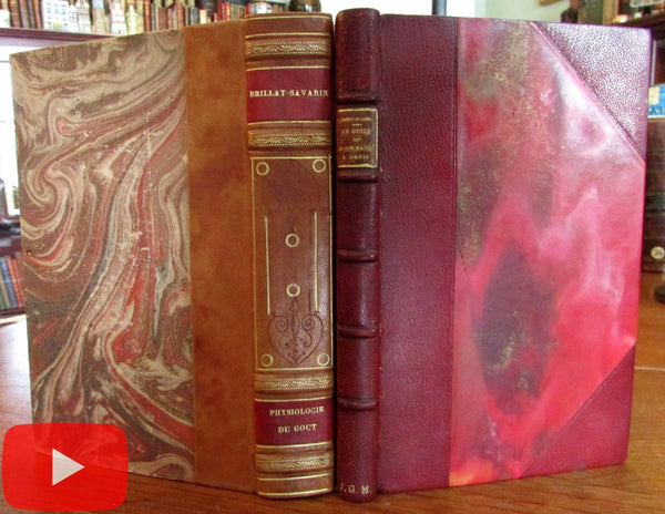 Gastronomy Dining Out Paris 2 leather books c.1920's French Art Deco era set