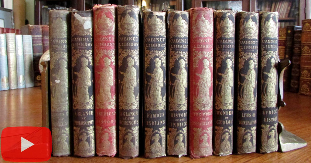 Peter Parley 10 vols gilt pictorial spines c.1850 children's books decorative spines