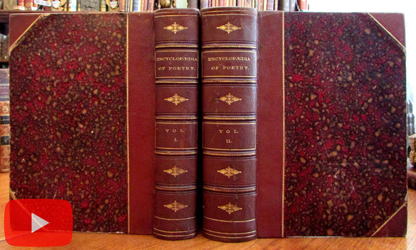 Poetry England & America 1873 Leather set 2 vols illustrated beautiful