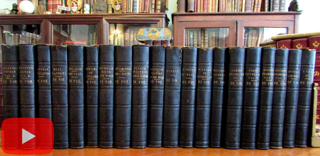 Daniel de Foe Complete Works 1840 set 20 volumes leather books attractive