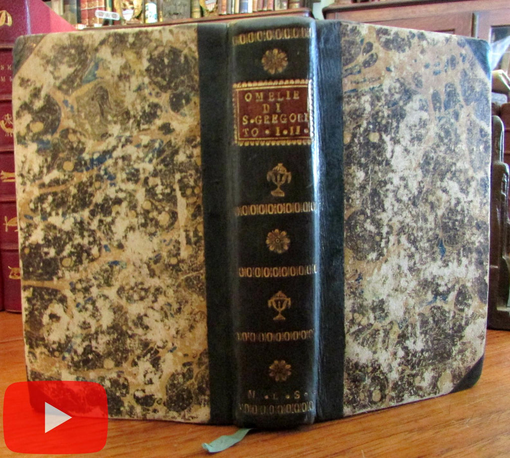 Pope Gregory 40 Homilies 1830 Venice ornate leather binding rare book