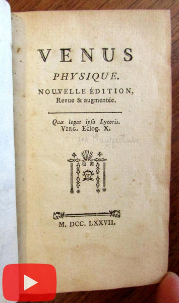 Venus Physique 1777 French leather book gilt spine physical attraction love
