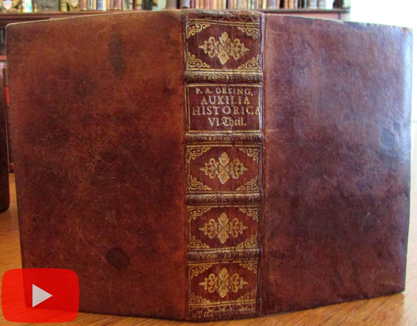 Anselmo Desing 1747 Auxilia Historica leather book Regenspurg German History