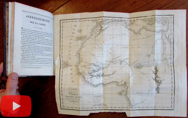 Africa Voyage Interior 1810-14 R. Adams First French ed. rare book lg. map