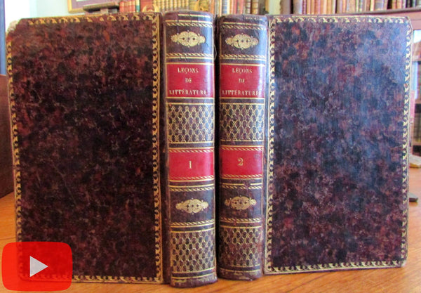 French Literature 1816 leather book 2v set beautiful gilt Noel Moral Lessons