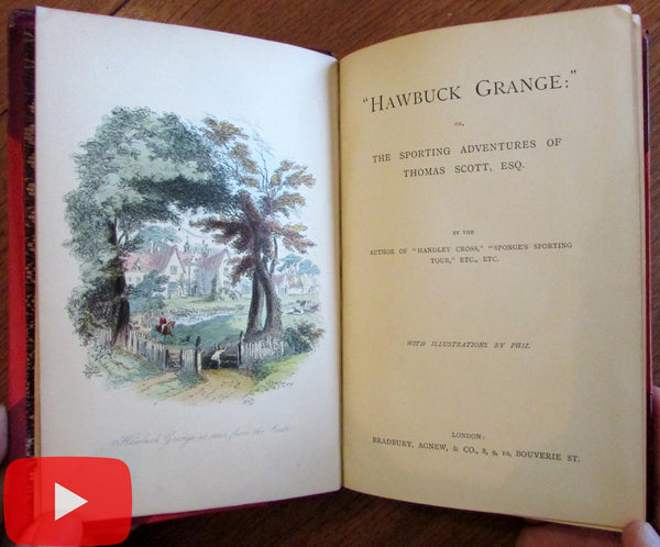 Phiz color plate book c.1850 Surtees leather binding Hawbuck Grange