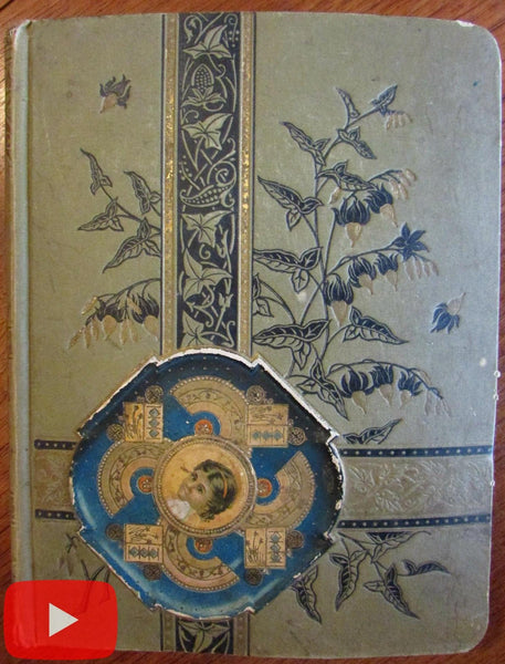 Scrapbook Album c.1880's American Victorian color chromos trade cards engravings