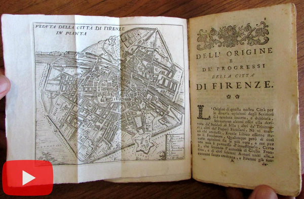 Florence Firenze 1767 guidebook w/ city plan map Riccardi rare pocket size