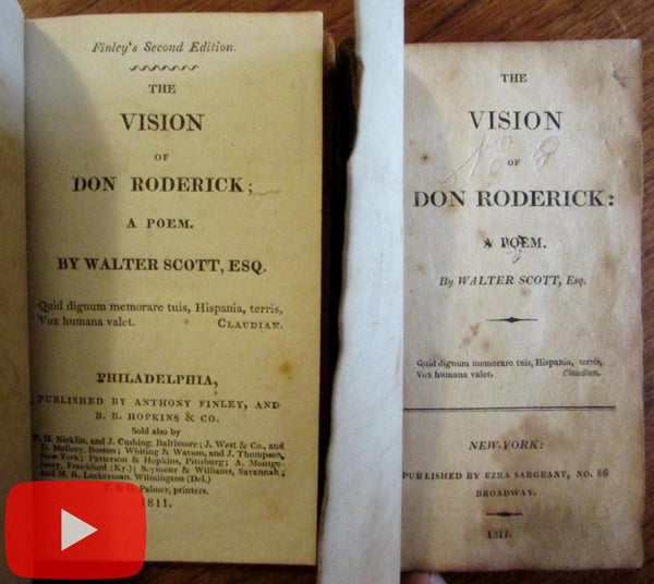 Sir Walter Scott Vision Don Roderick 1811 Philadelphia NY 2 books early bindings