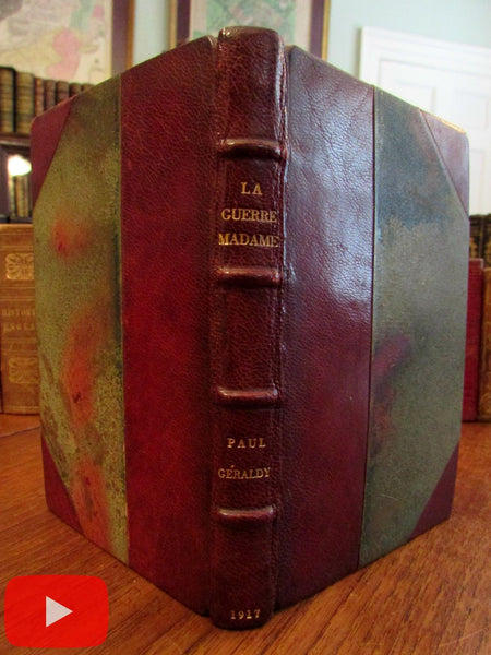 World War I WWI La Guerre, Madame 1917 Geraldy French leather book