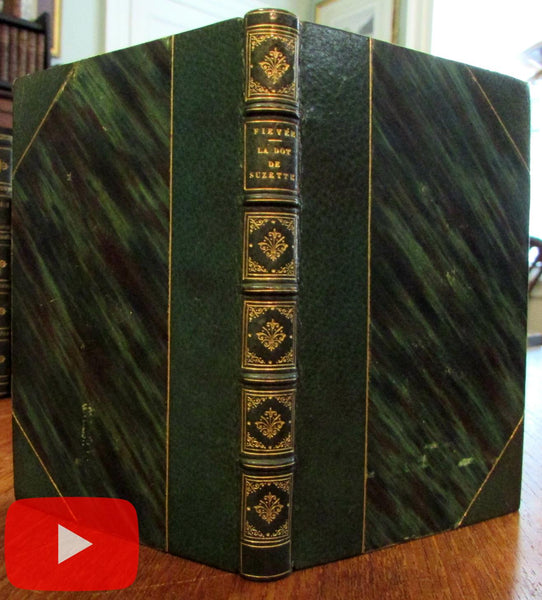 Beautiful gilt green morocco leather book 1839 Paris French Fievee
