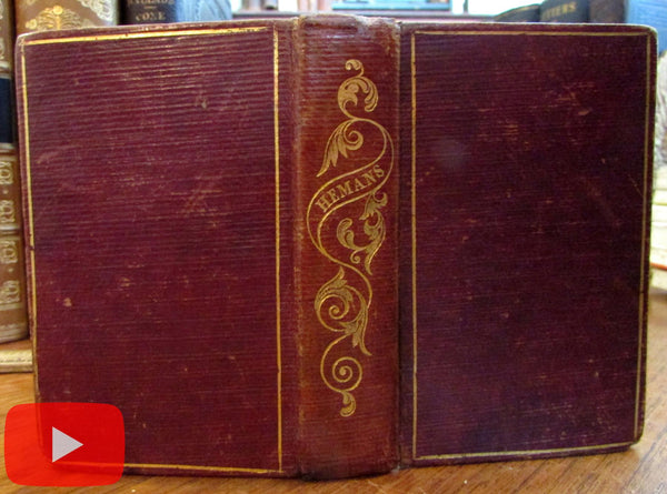 Hemans Poetical Works 1839 near miniature Leather Book w/ engravings gilt