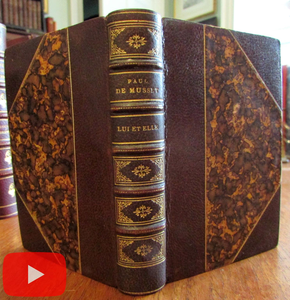 Musset Lui & Elle gorgeous leather binding 1878 w/ 2 Champollion engravings
