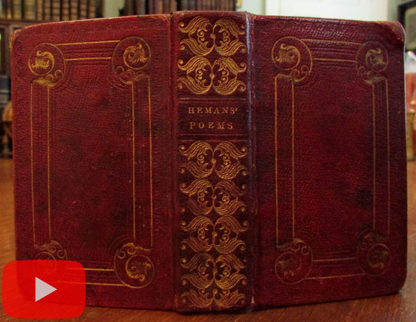 Miniature leather book 1832 Philadelphia Hemans gilt red morocco 2 engravings