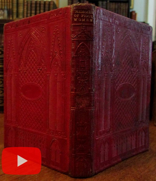 Gothic Cathedral revival 1840-50 embossed book binding leather Pious Women