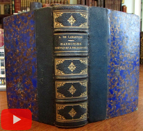French leather book Lamartine poems 1838 beautiful decorative gilt spine